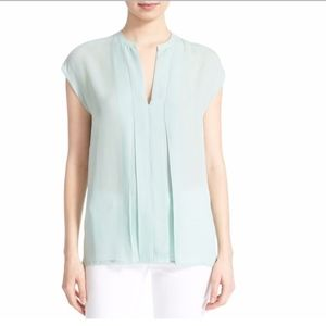 Vince Short Sleeve Pintuck Popover Silk Blouse Top